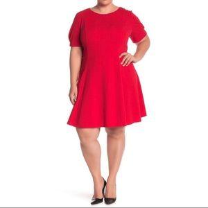 Eliza J Puff Sleeve Fit & Flare Little Red Dress